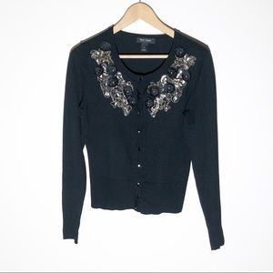 WHBM black cardigan with flower sequin detail SZ S